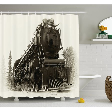 Canadian Pacific Steam Engine - Steam Engine Shower Curtain, Antique Northern Express Train Canada Railways Photo Freight Machine Print, Fabric Bathroom Set with Hooks, 69W X 70L Inches, Black Grey, by Ambesonne