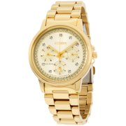 CITIZEN Women's Eco-Drive Silhouette Crystal Gold-Tone Watch, FD2042-51P
