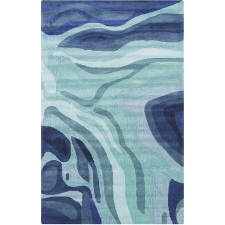 5' x 8' Painted Canyon Navy Blue and Aqua Blue Hand Tufted Area Throw Rug