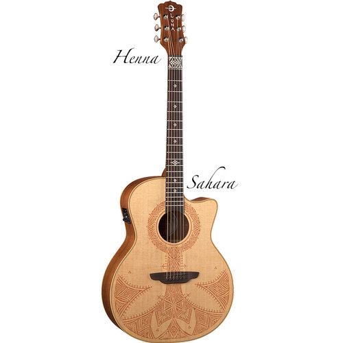 Luna Henna Sahara Cutaway Grand Concert Spruce Top Acoustic-Electric Guitar - Satin