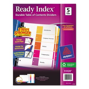 Avery(R) Ready Index(R) Table of Contents Dividers 11131, 5-Tab Set