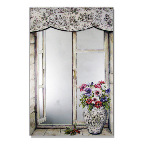 Stupell Industries Toile Vase Faux Window Mirror