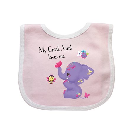 Great Aunt Bib - Great Aunt Loves Me Purple Elephant Cute Baby Bib