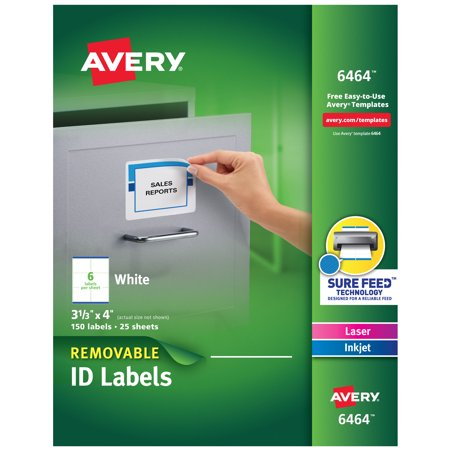 Removable Id Labels - Avery Removable 3-1/3 x 4 Inch White ID Labels 150 Pack (6464)