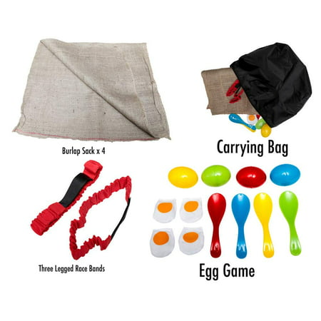 Afula Toys Birthday Party Kids Outdoor Games - 3 Fun Family Games in 1 - the Potato Sack Race, the 3 Legged Relay Race and the Egg and Spoon Race, Stores away in Compact Bag, Fun Game For Families (Egg And Spoon Race)