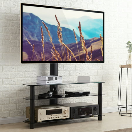 5Rcom Universal 3 shelf Swivel Conner Floor TV Stand with Mount for 37 42 47 50 55 60 65 70 inch Plasma LCD LED Flat or Curved Screen TVs TW1002-F ()