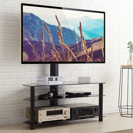 5Rcom Universal 3 shelf Swivel Conner Floor TV Stand with Mount for 37 42 47 50 55 60 65 70 inch Plasma LCD LED Flat or Curved Screen TVs TW1002-F