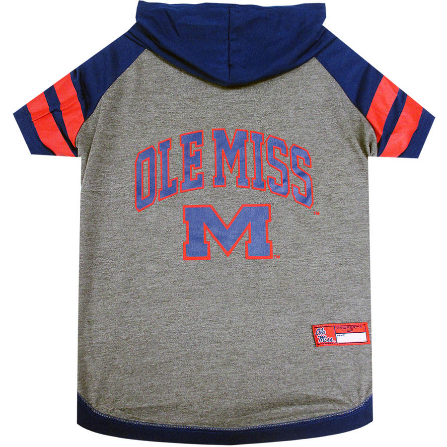 Pets First College Mississippi Rebels Pet Hoody Tee Shirt, 4 Sizes Available