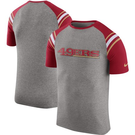 San Francisco 49ers Nike Enzyme Shoulder Stripe Raglan T-Shirt - Heathered Gray
