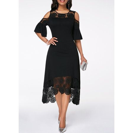 Knee Deep Black Lace - Solid Color Cold Shoulder Flare Cuff Lace Panel Knee Length Dress