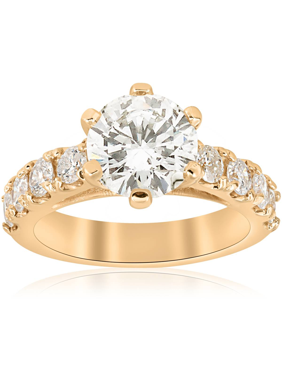 Huge 4 1 2ct Diamond Engagement Ring 14k Yellow Gold Round Cut Jewelry Enhanced by Pompeii3