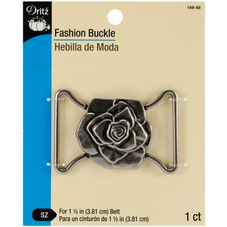 """Fashion Buckle For 1-1/2"""" Wide Belt-Antique Silver - Rose Design - image 1 of 1"""