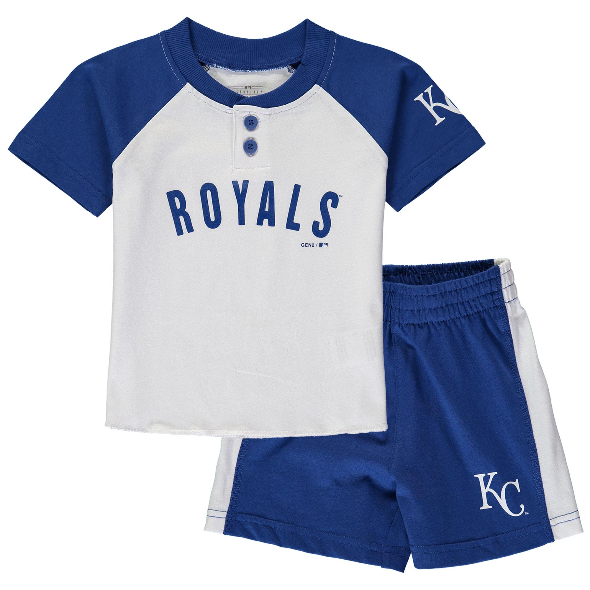 Kansas City Royals Toddler Good Hit Henley T-Shirt & Shorts Set - White/Royal