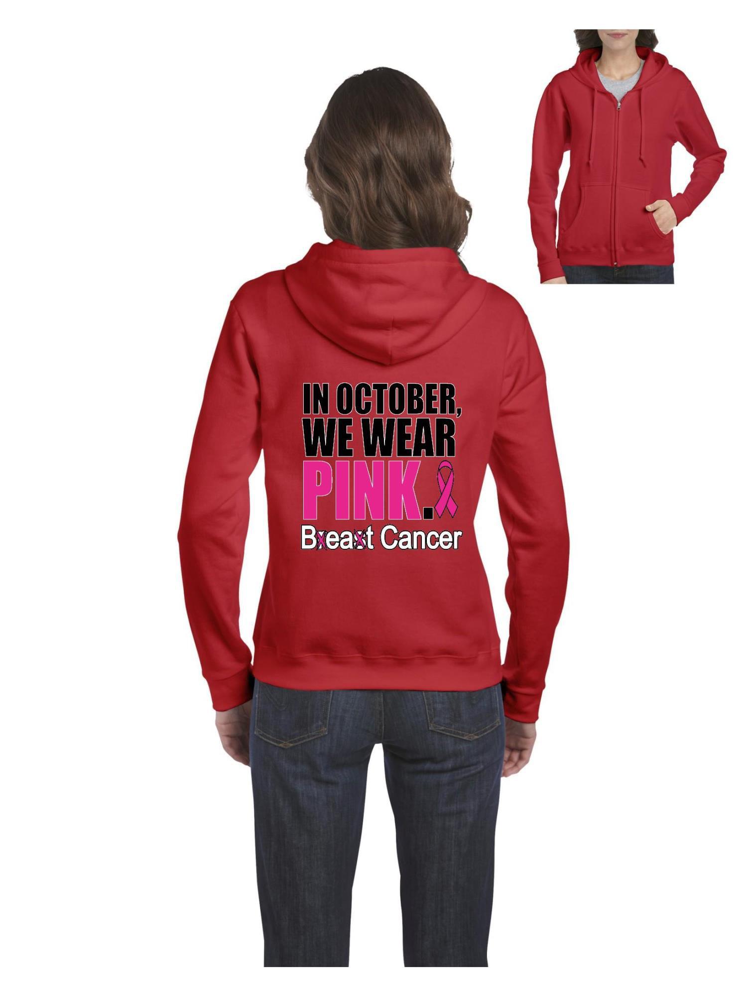 6cb0d0fb in October We Wear Pink Breast Cancer Awareness Women's Full-Zip Hooded  Sweatshirt