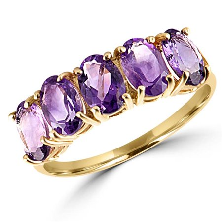 MDR140049-7.75 2 CTW Oval 5 Stone Purple Amethyst Cocktail Anniversary Ring in 10K Yellow Gold - Size 7.75