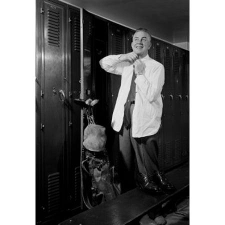 Man getting dressed in locker room Canvas Art -  (24 x 36)