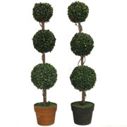 ESSENTIAL D COR & BEYOND, INC Three Ball Round Boxwood Topiary in Pot (Set of 2)