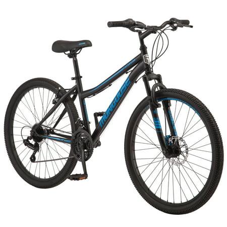 Mongoose Excursion mountain bike, 26-inch wheel, 21 speeds, womens frame, black / teal