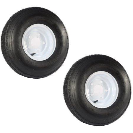 Two Trailer Tires On Rims 5.70-8 570-8 5.70 X 8 8 in. B 5 Lug Bolt Wheel