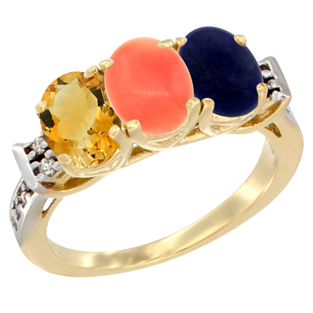 10K Yellow Gold Natural Citrine, Coral & Lapis Ring 3-Stone Oval 7x5 mm Diamond Accent, sizes 5 10 by WorldJewels