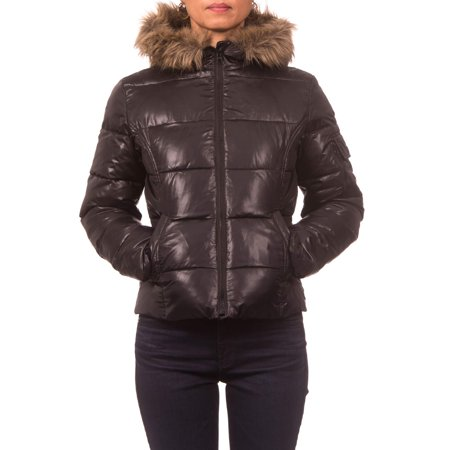 Junior Plus Down Blend Hooded Puffer Jacket with Faux Fur Rim (Blend Hooded Coat)