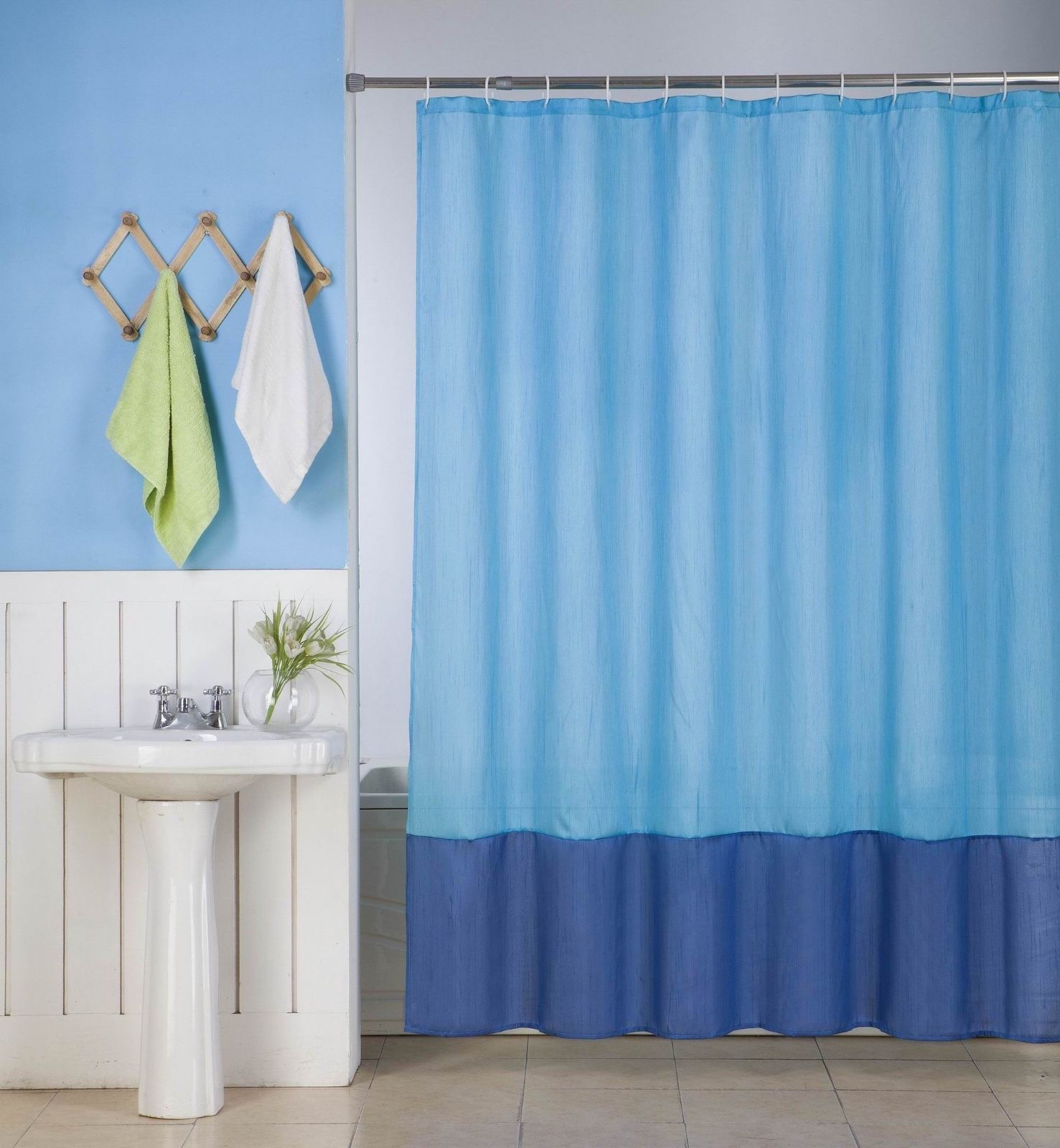 "1PC (H10) TURQUOISE ROYAL BLUE FAUX SILK 2 SHADES SOLID BATHROOM  BATH FABRIC SHOWER CURTAIN  WATER REPELLENT 72"" X72"""
