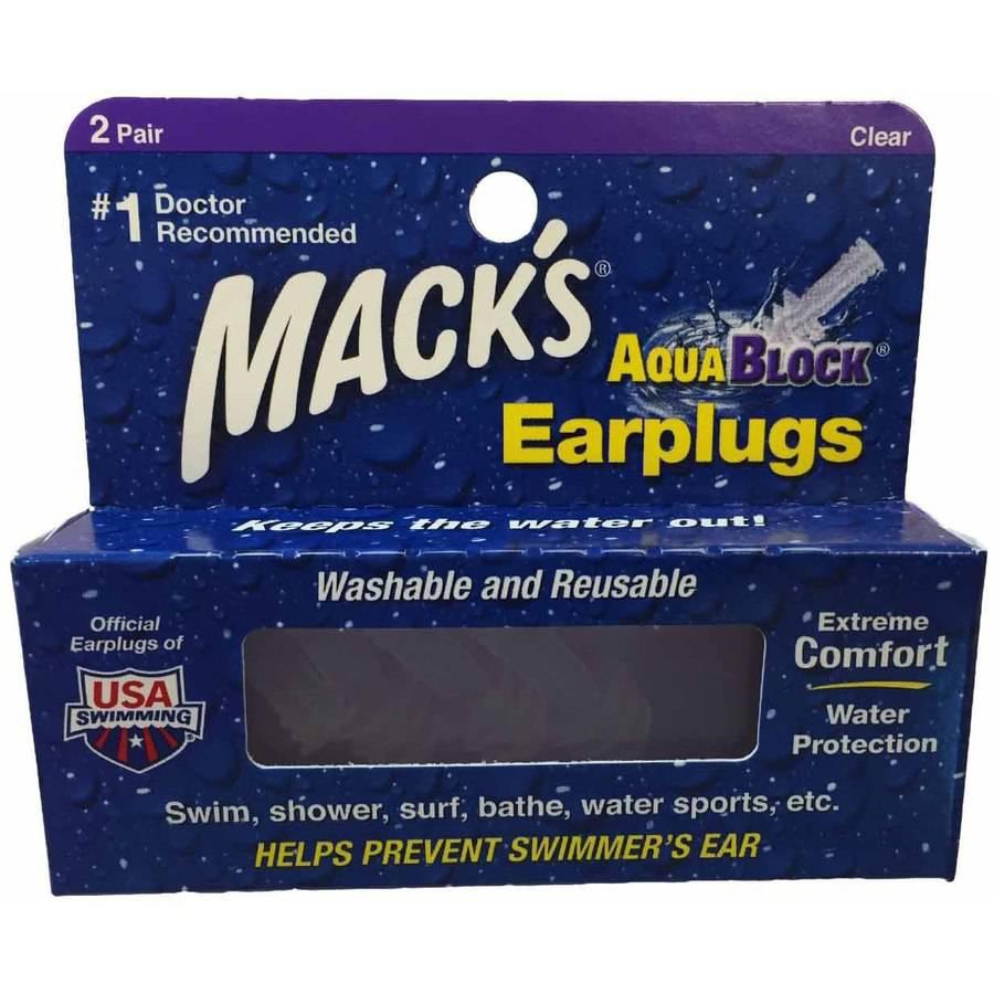 Macks Soft Flanged AquaBlock Earplugs, Clear, 1-Pair Blister Pack