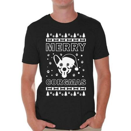 Awkward Styles Merry Corgmas Shirt Merry Corgmas Christmas Tshirts for Men Funny Corgi Dog Santa Shirt Men's Holiday Top Corgi Dog Lover Xmas Gifts Funny Tacky Party Holiday Christmas