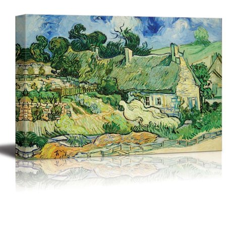 wall26 Thatched Cottages at Cordeville by Vincent Van Gogh - Canvas Print Wall Art Famous Painting Reproduction - 16