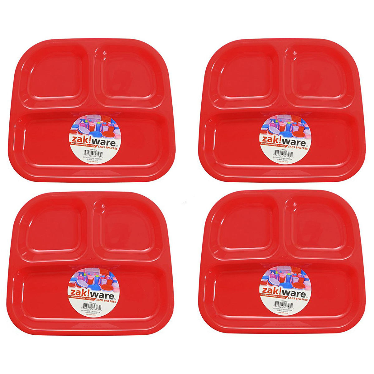 Zack (4 Pack) Kids 3-Section Divided Plate BPA Free Plastic Reusable Dinner Divider Tray - Walmart.com  sc 1 st  Walmart & Zack (4 Pack) Kids 3-Section Divided Plate BPA Free Plastic Reusable ...