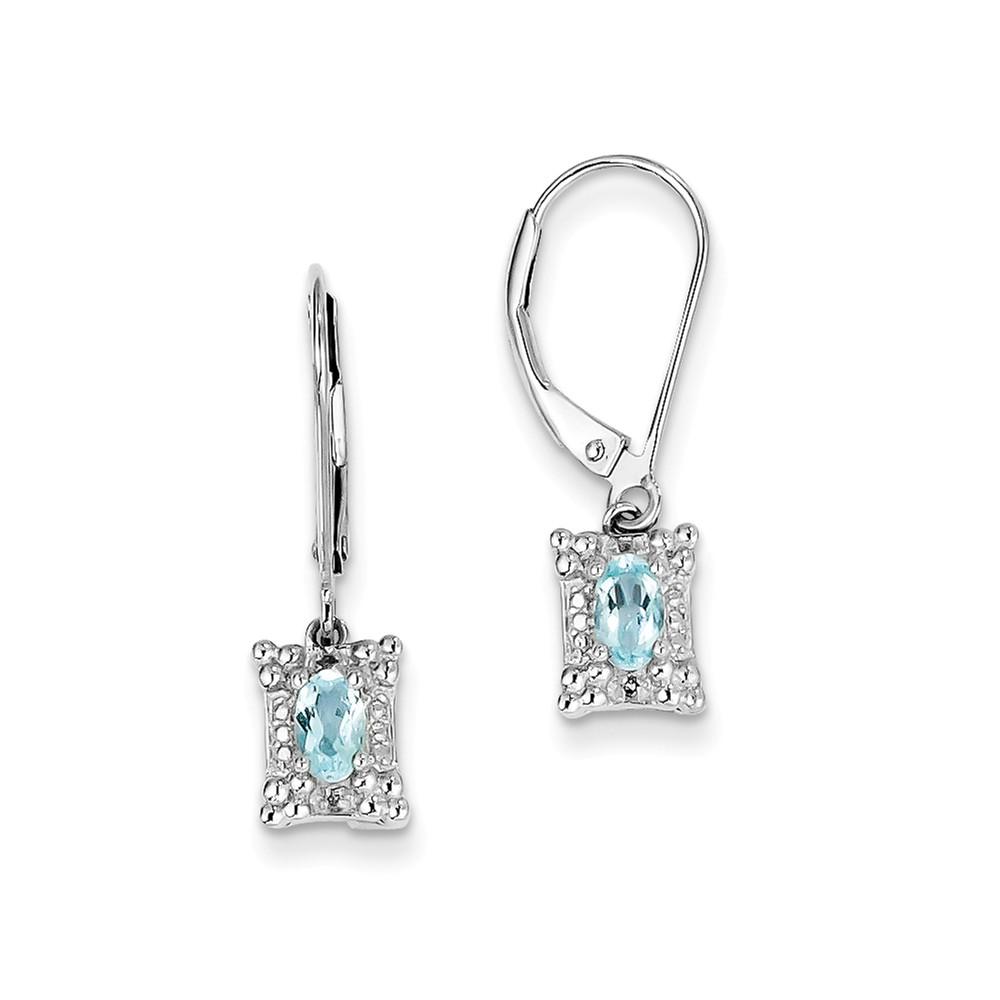 Sterling Silver 0.9IN Long Light Blue Topaz Diamond Earrings
