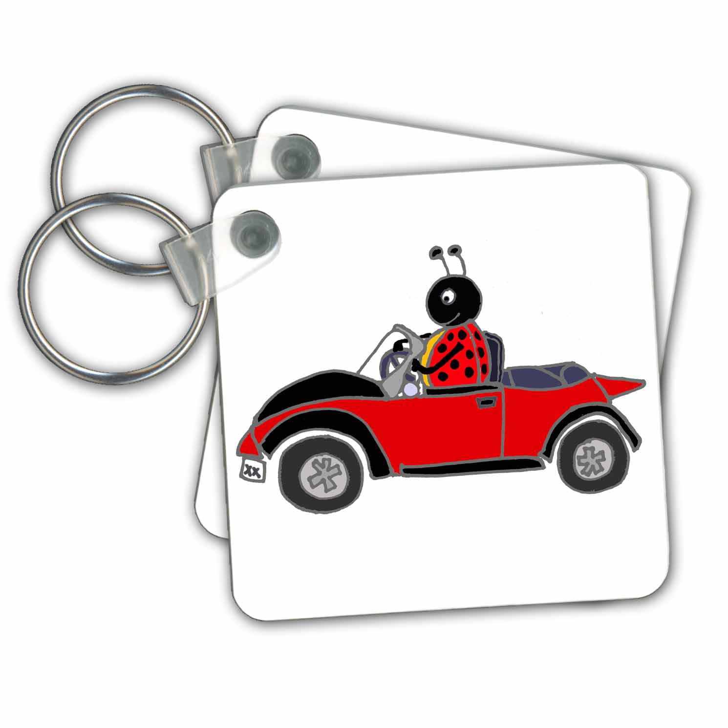3drose 3drose Funny Ladybug Driving Black And Red Convertible Bug Cartoon Key Chains 2 25 By 2 25 Inch Set Of 2 Walmart Com Walmart Com