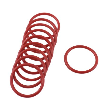 Unique Bargains 10pcs 25mm Outside Dia 2mm Thickness Rubber Oil Filter Seal Gasket O Rings Red