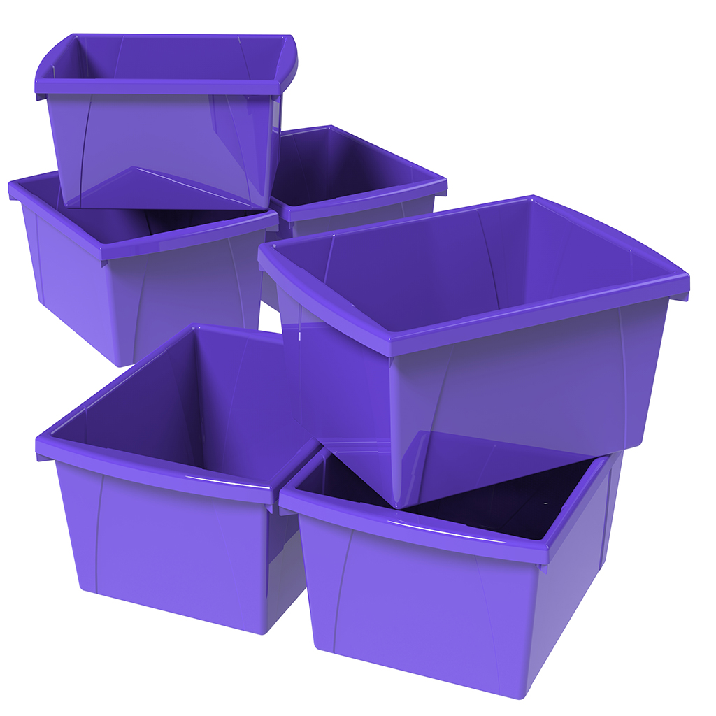 Storex 4 Gallon/15L Classroom Storage Bin,Purple (6 units/pack)