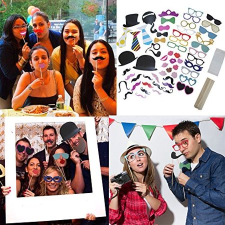 Holiday 58 Piece Photo Booth Props DIY Kit Party Favor Dress Up Accessories For Parties,Weddings, Reunions,Birthdays,Bridal Showers.Costumes With Hats,Lips,Mustache,Glasses,Bows And More.