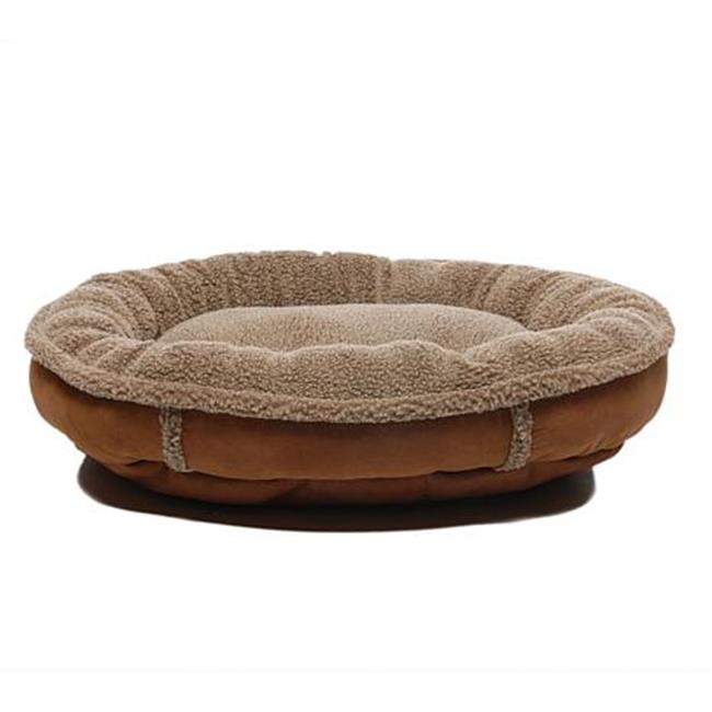 Carolina Pet 014550 Faux Suede & Tipped Berber Round Poly Fill Comfy Cup Bed - Chocolate, Medium