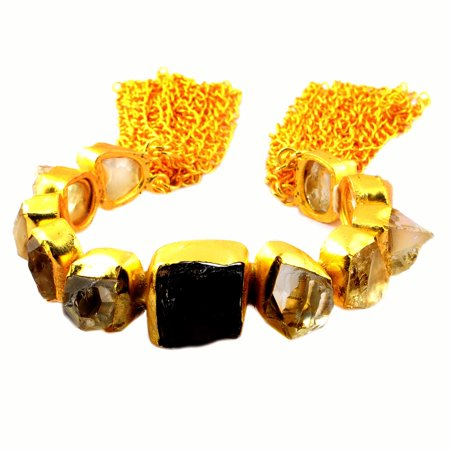 Overlay Crystal (180 Carat 14k Gold Overlay Smoky Quartz and Crystal Quartz Bracelet For Women by Orchid Jewelry)