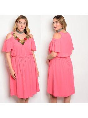 af9868bbaff Product Image JED FASHION Women s Plus Size Elastic Waist Knee Length Dress