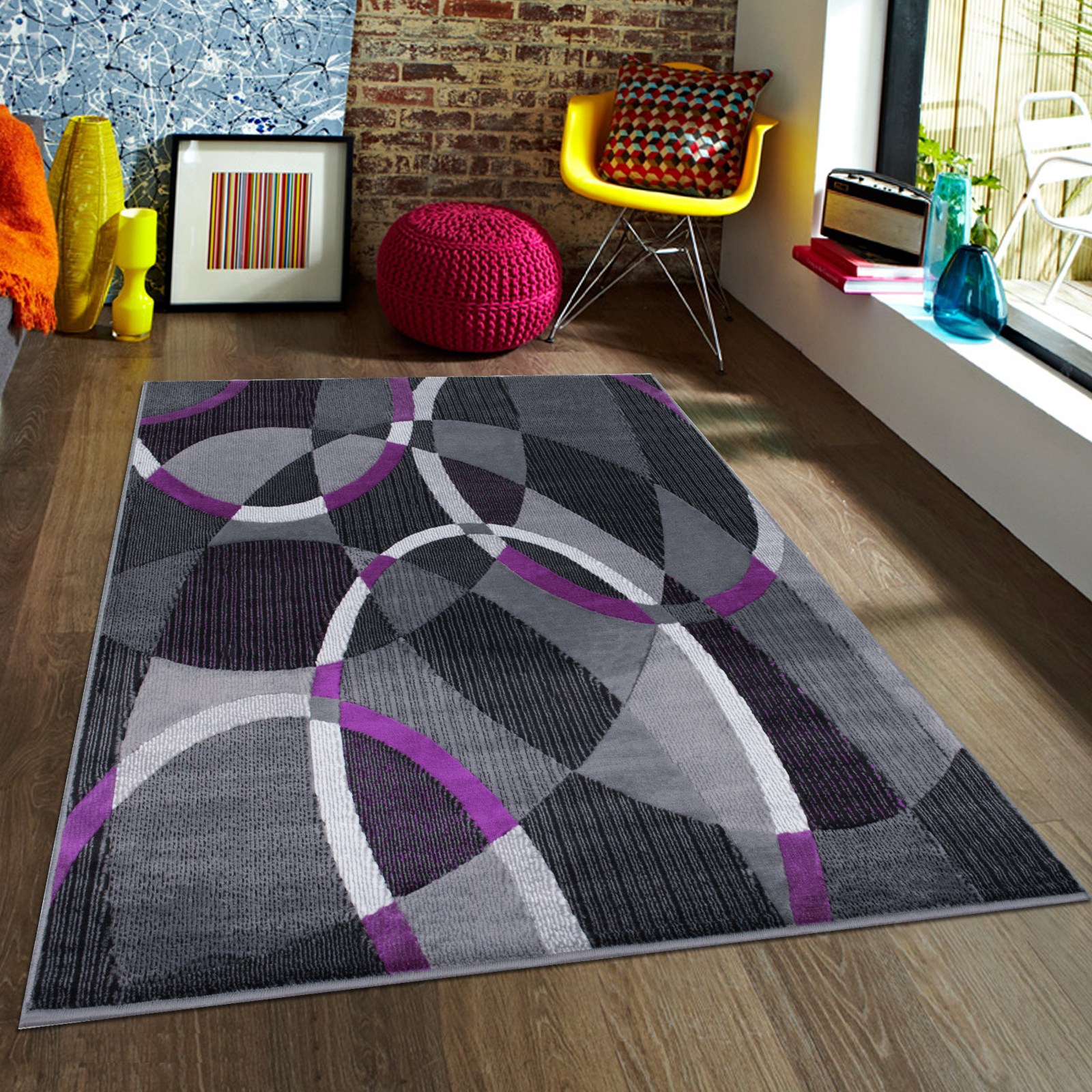Beau Purple AllStar Modern. Contemporary Woven Area Rug. Drop Stitch Weave  Technique. Carved