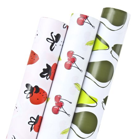 LaRibbons Fruit Printed Gift Wrapping Paper for Christmas High-grade Gift Box Decoration - Strawberry/Cherry/Avocado - 30