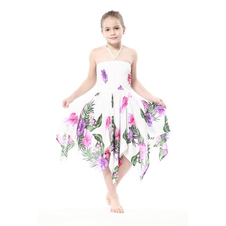 Girl Gypsy Uneven Button Hawaiian Luau Dress in White with Pink and Purple Floral 8 (Girls In Nities)