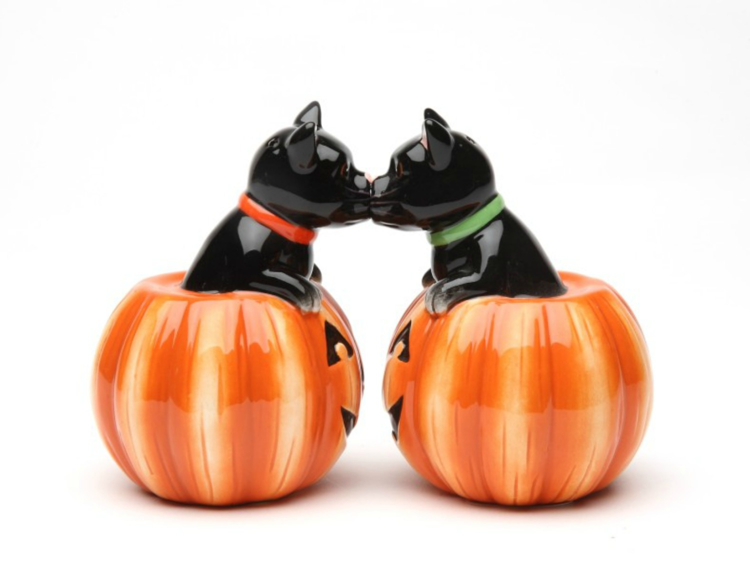 Black Cat and Halloween Pumpkins Salt and Pepper Shaker Set by Pacific Trading