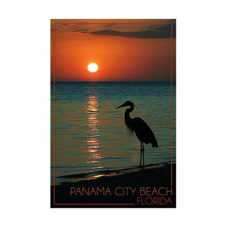 Panama City Beach, Florida - Heron and Sunset Print Wall Art By Lantern Press