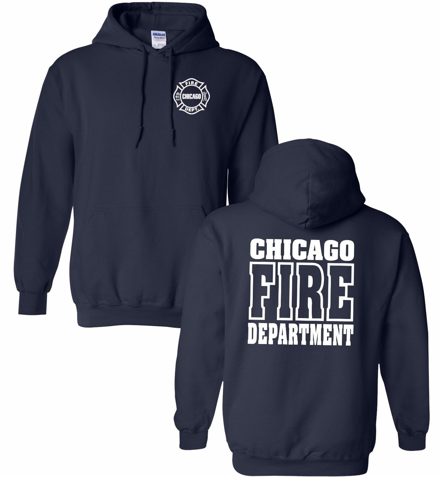 Chicago Fire Department 2-Sided Pullover Job Hoodie 10930 Small