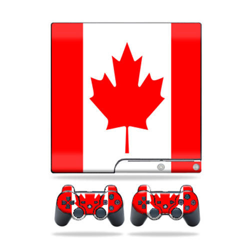 Skin Decal for Sony Playstation 3 PS3 Slim + 2 controllers Canadian Pride