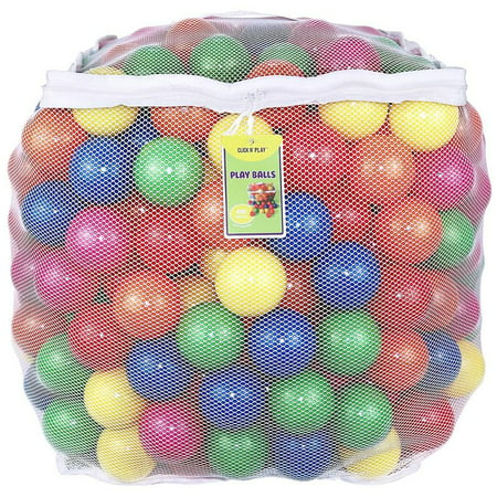 Click N' Play Pack of 400 Phthalate Free BPA Free Crush Proof Plastic Ball, Pit Balls - 6 Bright Colors in Reusable and Durable Storage Mesh Bag with Zipper