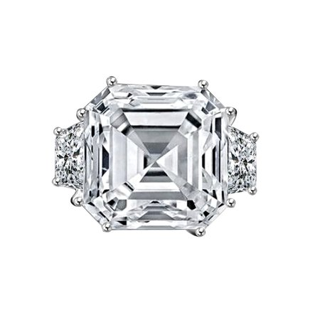 12 CT. Asscher Cut Center Set with Double Sided Baguette Vintage Engagement/Wedding Sterling Silver -