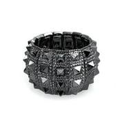 Black Grey Goth Biker Jewelry Wide Cuff Stretch Bracelet for Women Men Teen  Rockers Alloy