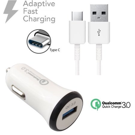 Adaptive Fast Charger Kit Compatible with ZTE ZMAX Champ Devices-[Car Charger+4 Feet USB C Cable]-AFC uses Dual voltages for up to 50% Faster Charging!-White - image 4 of 9