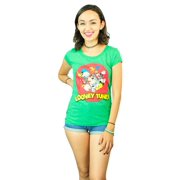 Looney Tunes Full Color Logo with Characters Women's Green T-shirt